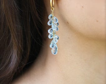 Blue topaz drops and 18k gold drop earrings