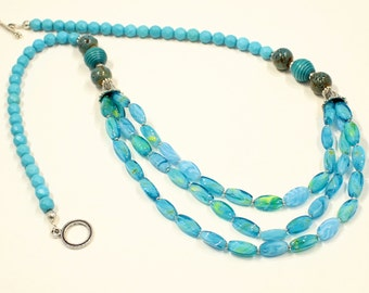 Blue Green Necklace, Long Necklace, Aqua Blue, Beaded Necklace,Statement Necklace, Beaded Jewelry,Handmade,Turquoise, Necklace, Fashion
