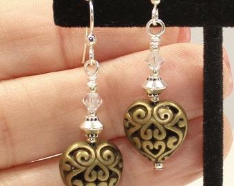 Antique Brass Heart Earrings  Lacy Filigree Heart Earrings Heart Jewelry Gift for Her Valentine Earrings Valentine Day Gift Brass Earrings