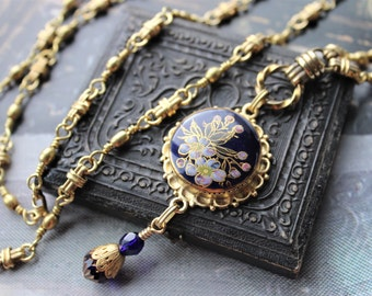 VINTAGE Satsuma Button Necklace Long, Asian Themed, Hand Painted Porcelain Japanese, Cobalt Blue Floral, Vintage Button Jewelry veryDonna