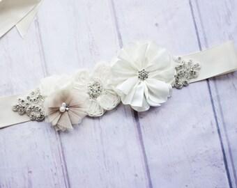 Bridal Sash Belt, Bridesmaid Sash, Maternity Sash, Flower Girl Sash, Ivory Sash, Bridal Belt, Ivory Bridal Belt,