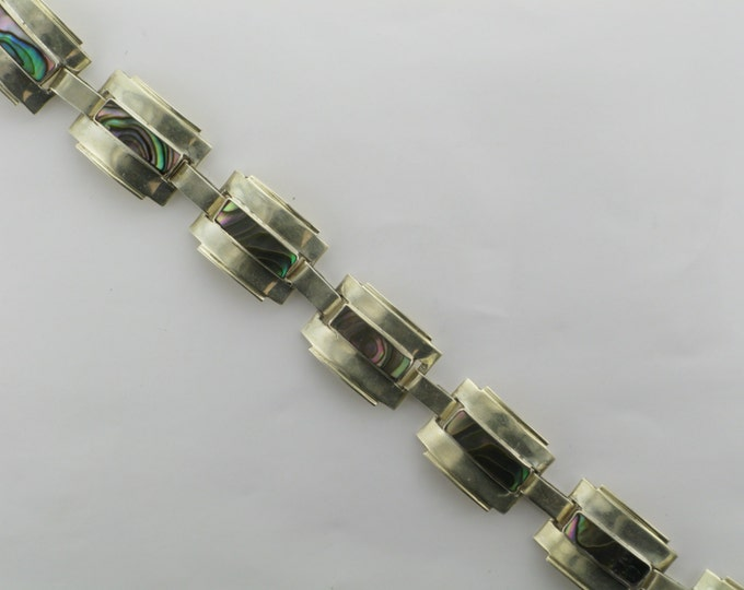 Sterling Silver Abalone Bracelet; Sterling Silver Bracelet Marked Mexico CL; Sterling Silver Bracelet; Abalone Link Bracelet; Bracelet