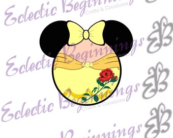 Disney Digital File, DIY Print Iron On-Disney Princess Belle Beauty and the Beast Minnie Mouse Ears JPG File