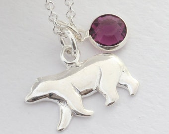 Polar Bear Jewelry with Birthstone Or select charm, Silver Polar Bear necklace, Sterling Silver Polar bear Pendant. choose Italian chain