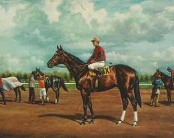 Barbizon at Garden State - Vintage 1950s Richard Stone Reeves Racehorse Portrait Postcard