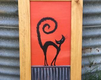 Cat on Hot Tin Roof Rustic Framed Original Art, Acrylic Painting, Australian Artist, Cat Art, Gift for Cat Lover, Cat Painting, Black Cat