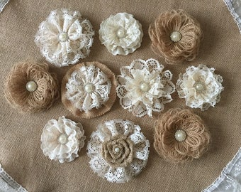 10 burlap and lace handmade flowers with metal rhinestone pearl buttons wedding cake, bridal bouquets, headbands