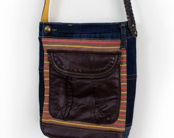 Upcycled Striped Denim and Faux Leather Messeneger Bag Handmade Unique