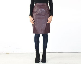 Size 8 // Wiggle Skirt // Burgundy Leather Pencil Skirt // High Waisted Leather Skirt // Real Leather Skirt // Knee Length Stretch Skirt