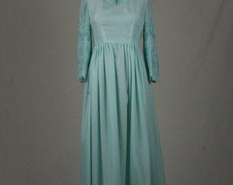 1970s Sea Foam Green Dress with Empire Waist