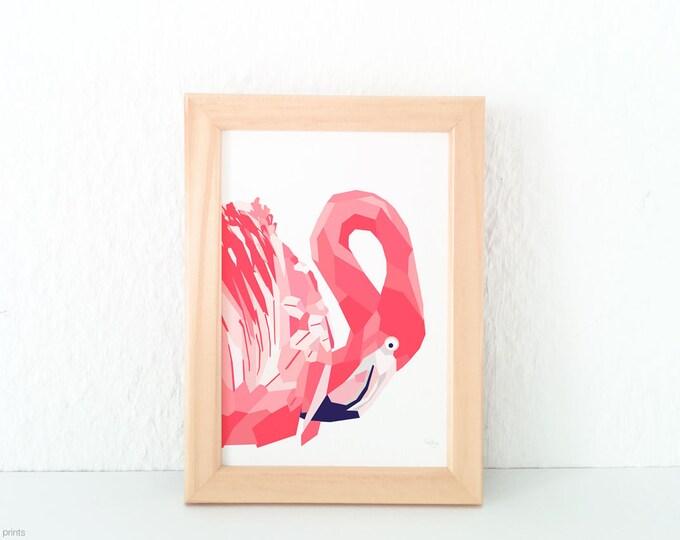Pink flamingo print, Flamingo wall art, Pink wall decor, Pink room art, Girls room decor, Pink nursery art, Geometric flamingo, Safari art