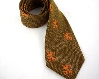 Vintage Men's Tweed Necktie with Lion Rampant Scottish Design, 1960s Tie, Orange, Brown