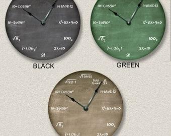 "MATH WALL Clock - Chalkboard Clock - Large 10.5"" Wall Clock - Round Wall Clock - Unique Wall Clock - Classroom Clock"