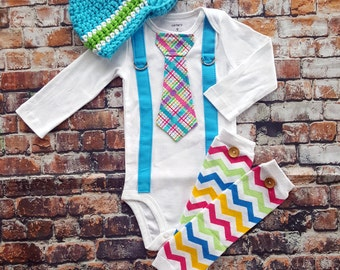 Easter Baby Boy Tie Bodysuit w Suspenders, Visor Crocheted Hat, Button Leg Warmers. Spring Plaid.  Baby Shower Gift, Photo Prop, Easter Boy