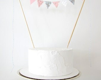 Gender Reveal Cake Topper - Fabric Cake Bunting - Wedding, First Birthday, Shower Decoration pastel pink blue grey floral polka dots baby