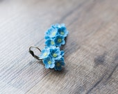 Blue flower earrings - forget-me-nots earrings - flower jewelry - nature earrings - botanical jewelry - blossom earrings, garden