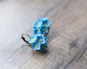 Blue flower earrings - forget-me-nots earrings - flower jewelry - nature earrings - botanical jewelry - blossom earrings, garden