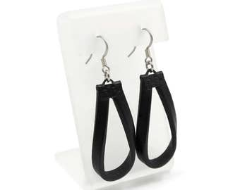 Black Leather Earrings, Hypoallergenic, Minimalist and Elegant Hoops, 3rd Anniversary Gift Idea - Leather Jewelry for Women, Stylish, Casual