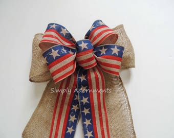 Vintage Americana Burlap Wreath Bow Rustic Patriotic Burlap Bow July 4th Party Decor Fourth of July Decor Independence Wreath Bow Gift Bow