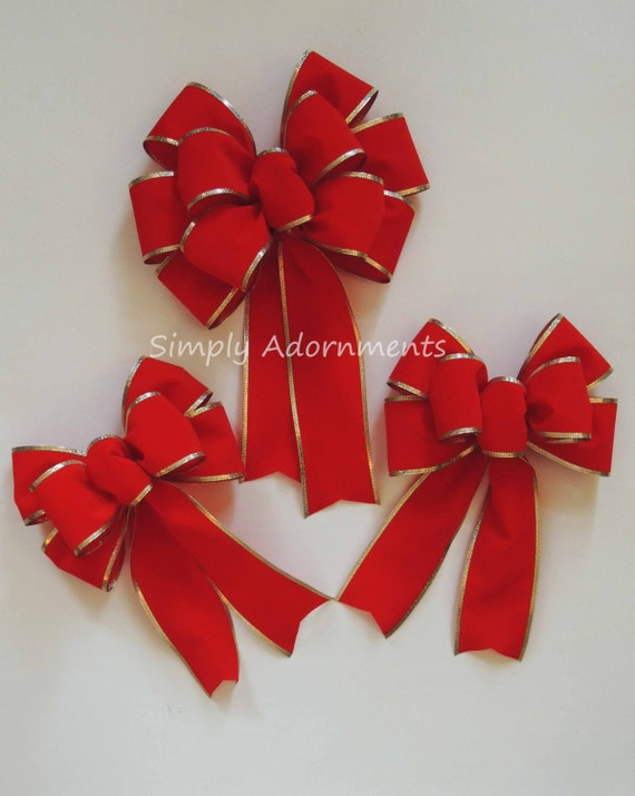 Traditional Red Velvet Christmas Bow Red Gold Trim Christmas Wreath Bow Red Velvet Door Hanger Christmas Bow Red Lamp Post Bow