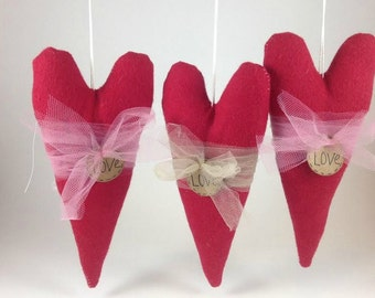 Wedding Decor - Red Heart - Anniversary Gifts - Wedding Favors - Americana Decor