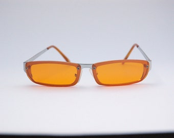 Authentic Vintage 2000s Orange Lens Sunglasses/ Squared Shades w Silver Tone Frame - NOS Dead Stock Cyber /Grunge/Rave