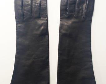 Vintage Black Kid Leather Long Gloves Italy