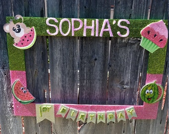 Pink and Green Watermelon or Any Color Themed Party Photo Prop Frame