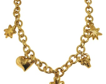 1990s. Vintage Christian Lacroix chain statement necklace with golden heart mark, star, clover, and bull charms. Rare masterpiece.