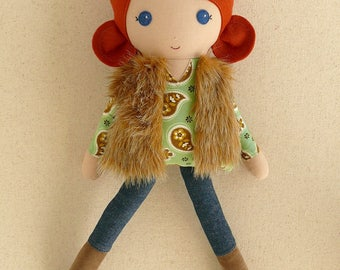 Fabric Doll Rag Doll, Red Haired Girl in Green Paisley Print Top, Dark Denim Leggings, Brown Suede Boots, and Fur Jacket