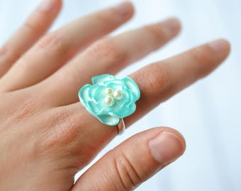 AQUA satin flower ring, with three faux pearls - size 6.5+ adjustable ring, bridesmaid jewelry, flower jewelry, ready to ship