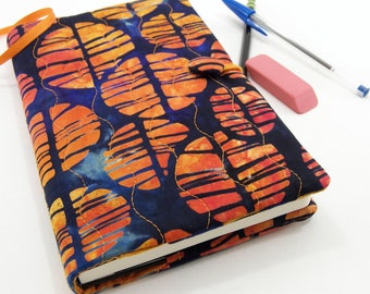 Batik Journal Cover, 5 x 8 Inch Diary Cover, Writing Journal Slipcover - Orange and Navy Batik Notebook Cover