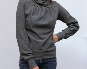 Mandarin collar sweaters Birte Heather grey