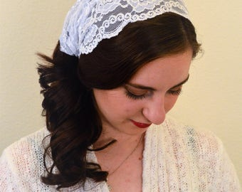 Women Coverings SCT11 - Lace Christian Headcovering Headband Headscarf with Ties, in White