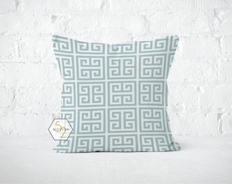 Blue Greek Key Pillow Cover - Towers Village Blue - 18 x 18, 20 x 20 and More Sizes - Zipper Closure - sc1820