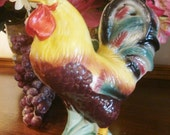 Vintage Ceramic Rooster Country French Farmhouse Kitchen Chicken Handpainted Large 9 inch