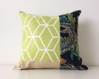 Contemporary Patchwork Pillow Cover, Braemore Bethe, Green, Navy, Designer Fabrics, Botanical, Neutral, Pattern Block, Modern, Linen,