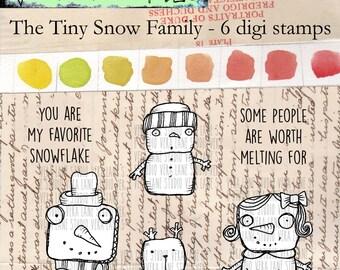 The Tiny Snow Family - 6 digi stamp bundle
