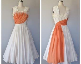 vintage 1950s silk chiffon party dress size xs - small