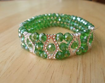 3 Row Green Crystal Stretch Cuff Bracelet with Silver Tone Spacers