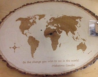 Smaller size- Customizable Engraved map of the World -filled in land