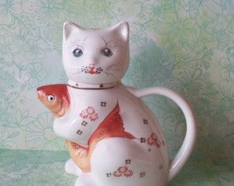 Vintage Chinese Cat with Koi Fish Teapot Creamer