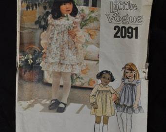 Little Vogue #2091 Toddler Dress, Jumper and Sundress, Size 2 UNCUT