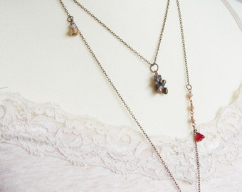 Long layered copper necklace - Bear necklace - Crystal pendant necklace