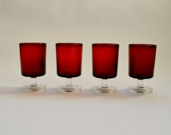 Vintage Set of 4 Luminarc Cavalier Cranberry Red Wine or Sherry Glasses