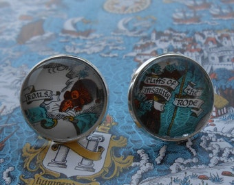 Princess Bride Map Cufflinks. CHOOSE Your PLACES On The Map. Anniversary, Unique Birthday Gift, Groomsmen Gift, Christmas.
