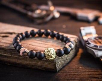 8mm - Black Onyx & leopard skin beaded stretchy bracelet with gold Lion, mens bracelet, mens beaded bracelet, casual bracelet, Lion bracelet