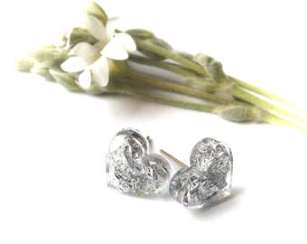 Silver Heart Stud Earrings Eco Resin Heart Studs Gift For Her Bridesmaid Earrings FREE UK SHIPPING