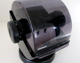 Retro Black Plastic/Smoky Acrylic Spinning Rolodex