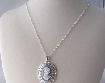 Blue Cameo in Silver Filigree Pendant Necklace